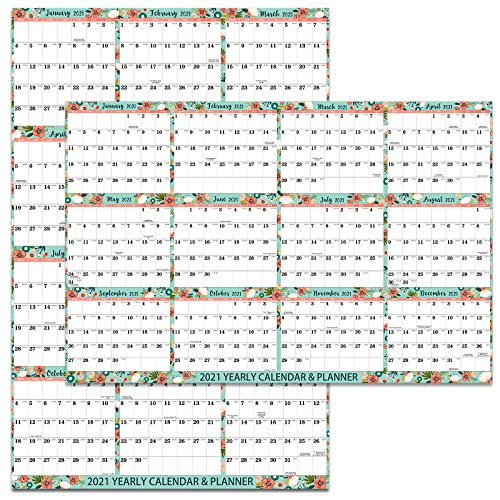2021 Wall Planner - Year Wall Planner 2021 with Julian Date, January 2021 - December 2021, 2-Sided Horizontal/Vertical Reversible, for Home, Work, Student, Office, 58 cm x 88 cm