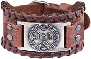 Vintage Talisman Seal of Solomon The Sigil of Archangel Raphael Charm Brown Leather Bracelet Gift Jewelry