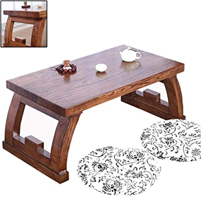 Chinese Elm Coffee Table Antique Tatami Table Solid Wood Kang Table Sinology Table Bay Window Table Platform Low Table Pure Solid Wood Floor Small Coffee Table (Color : Brown, Size : 70 * 45 * 40cm)