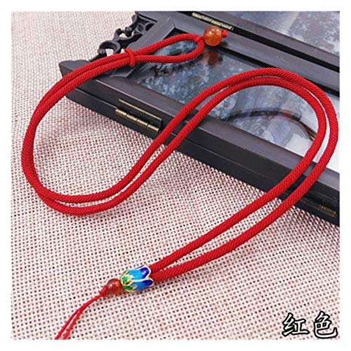 WSJKL 5pcs Hand Knited Necklace Silk Thread Knot Cord For Pendant- Fine Ananas Knot (Color : Red)