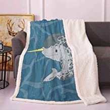 Narwhal Cozy Blanket Happy Arctic Ocean Whale with Horn Swimming in The Sea Cartoon Style Animal Drawing Frozen Blanket Multicolor 50