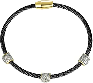 [Luxury Packaging Triple Barrel Cubic Zirconia Twisted Wire Bangle Series