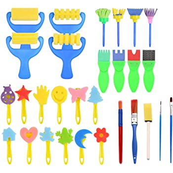 Paint Brushes and Magnets for Adult Arts and Crafts Supplies 12 Colors Paints 20 Pieces Wooden Magnet Craft Painting Assorted Wooden Animals