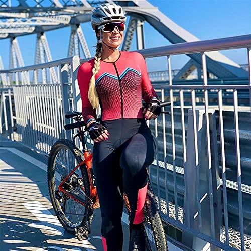 Frauen Radfahren Jersey Triathlon Jumpsuit Radfahren Fahrrad Jersey Set Lange Hose Ärmel Fahrrad Sport Dünne Haftanzug (Color : Yellow, Size : Small)