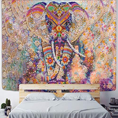 PPOU Tapiz de Mandala Indio Perla Elefante Arte Colgante de Pared Sol y Luna meditación Chakra tapices para decoración de Sala de Estar A5 130x150cm