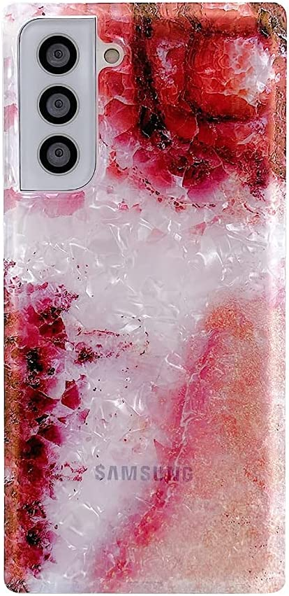 SUYACS Samsung Galaxy S21 Case Square Edge Cute Sparkle red Marble for Women Girls Soft Silicone Shockproof Cover 5G 6.2 Inch (Red)