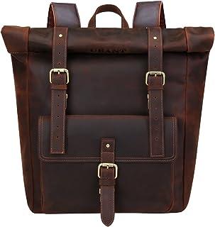 UBANT Genuine Leather Backpack for Men, 17.3'' Laptop Backpack Vintage Full Grain Leather Roll Top School College Bookbag ...