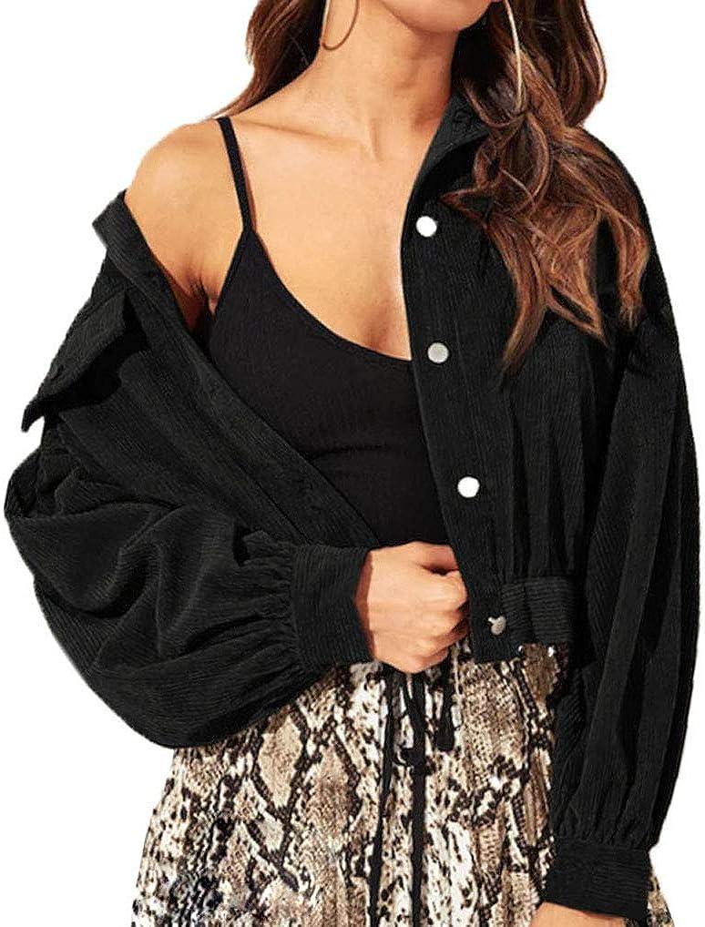 lisenraIn Women's Fall Casual Corduroy Jacket Solid Single Breasted Lightweight Coat Outwear