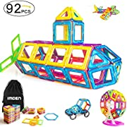 IMDEN Magnetic Blocks, Magnetic Building Set, Magnetic Tiles, Educational Toys for Baby/Kids, 92 Piece