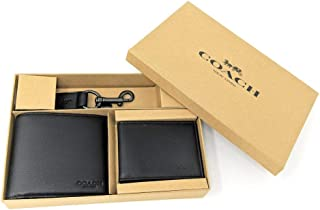 Coach Men's 3 in 1 Sport Calf Leather Billfold ID Wallet Key Fob Gift Set