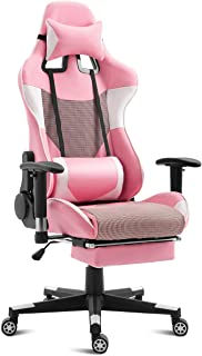 Giantex Gaming Chair Racing Style High Back Ergonomic Office Chair Executive Swivel Computer Desk Chair Height Adjustable Task Chair Reclining with Lumbar Support, Headrest and Footrest (Pink)