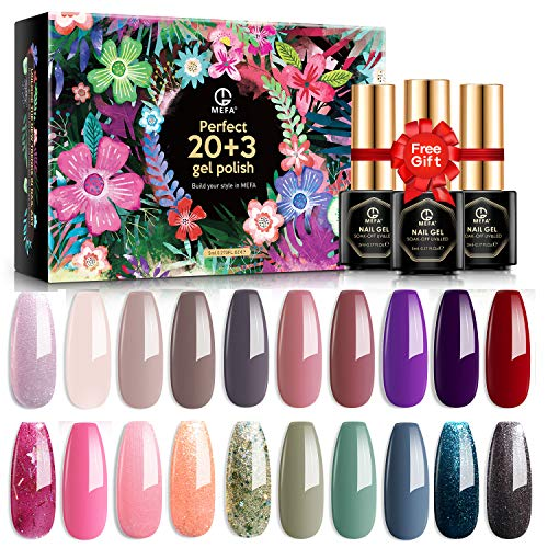 MEFA Gel Nail Polish Set 23 Pcs with Nice Box, Soak Off UV LED Color Gel Varnish with Base Coat and No Wipe Glossy Top Coat Matte Top Coat for Nail Art Salon Design Manicure Starter Set
