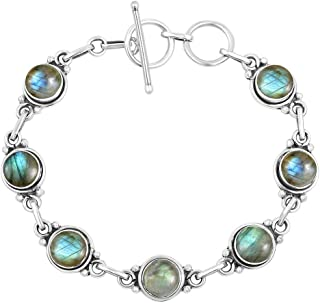 TISHAVI Natural Labradorite Moonstone Turquoise Lapis Bracelet Sterling Silver Gift for Her Men Women Teens Wife Mom Girlfriend