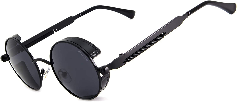RONSOU Steampunk Estilo Redondas Vintage Polarizadas Gafas de Sol Retro Gafas UV400 Protección Metal Marco