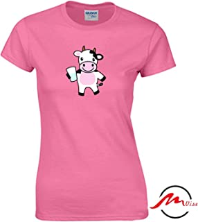 ZMvise Cartoon Milk Cow Cattle Pattern Novelty Cotton Tee Unisex Adult Youth Tshirt Quote T-Shirt