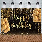 Ticuenicoa 7x5ft Happy Birthday Backdrop Black and Gold Shinning Glitter Bokeh Golden Spots Balloons Photography Background Bday Men Women Banner Party Decoration Photo Booth Studio Supplies Props