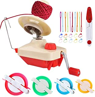 Yarn Ball Winder ,Convenient Ball Winder for Yarn,Yarn Swift and Ball Winder Combo with Easy Installation for Yarn Storage ,1 Pcs Scissors + 20 Pcs Stitch Knitting Needles + 4 Size Pompom Maker (26)