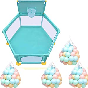 SLMY Hexagon baby play fence child safety fence plus basketball stand  home indoor crawling toddler fence playground Oxford cloth  height-4