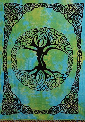 India Arts Handmade Tie Dye Celtic Tree of Life Cotton Tapestry Bedspread Beach Sheet Dorm Decor Twin 70' x 104' Green Blue