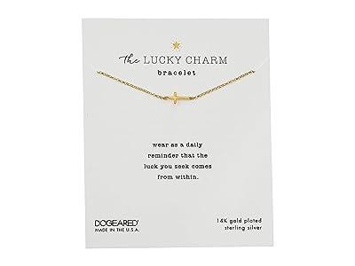 Dogeared The Lucky Charm Bracelet, Cross Charm On Chain (Gold) Bracelet