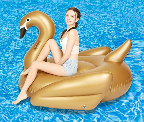 Woneart Riese Schwimmring Aufblasbarer Flamingo/Einhorn Schwimmring Pool Party Aufblasbare Schwimmhilfe für Erwachsene Kinder Schwimmen Float Planschbecken Raft Liege Luftmatratzen Strand-Badespielzeug (Gold Swan, 190x190x125CM)