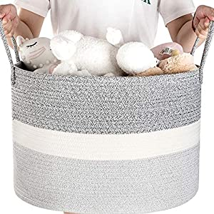 Blanket Basket Living Room – Cotton Rope Basket for Kids Toy, Laundry, Baby Nursery – Woven Storage Baskets – Laundry Organizer Bins – Decorative Round Basket Extra Large 20″ D x 13″ H