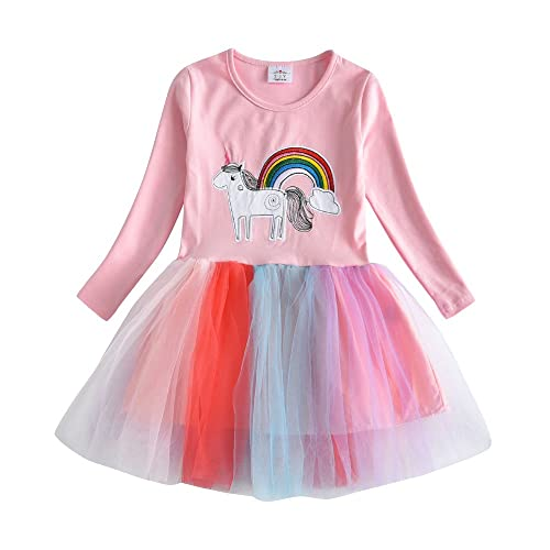 7159f9b23 DXTON Little Girl Children Kid Long Sleeve Flower Cotton Dresses for 2-8T