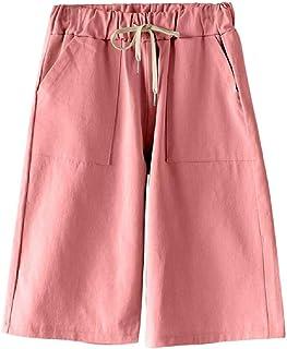 Womens Casual Elastic Waist Drawstring Wide Leg Soft Bermuda Shorts with Pocket
