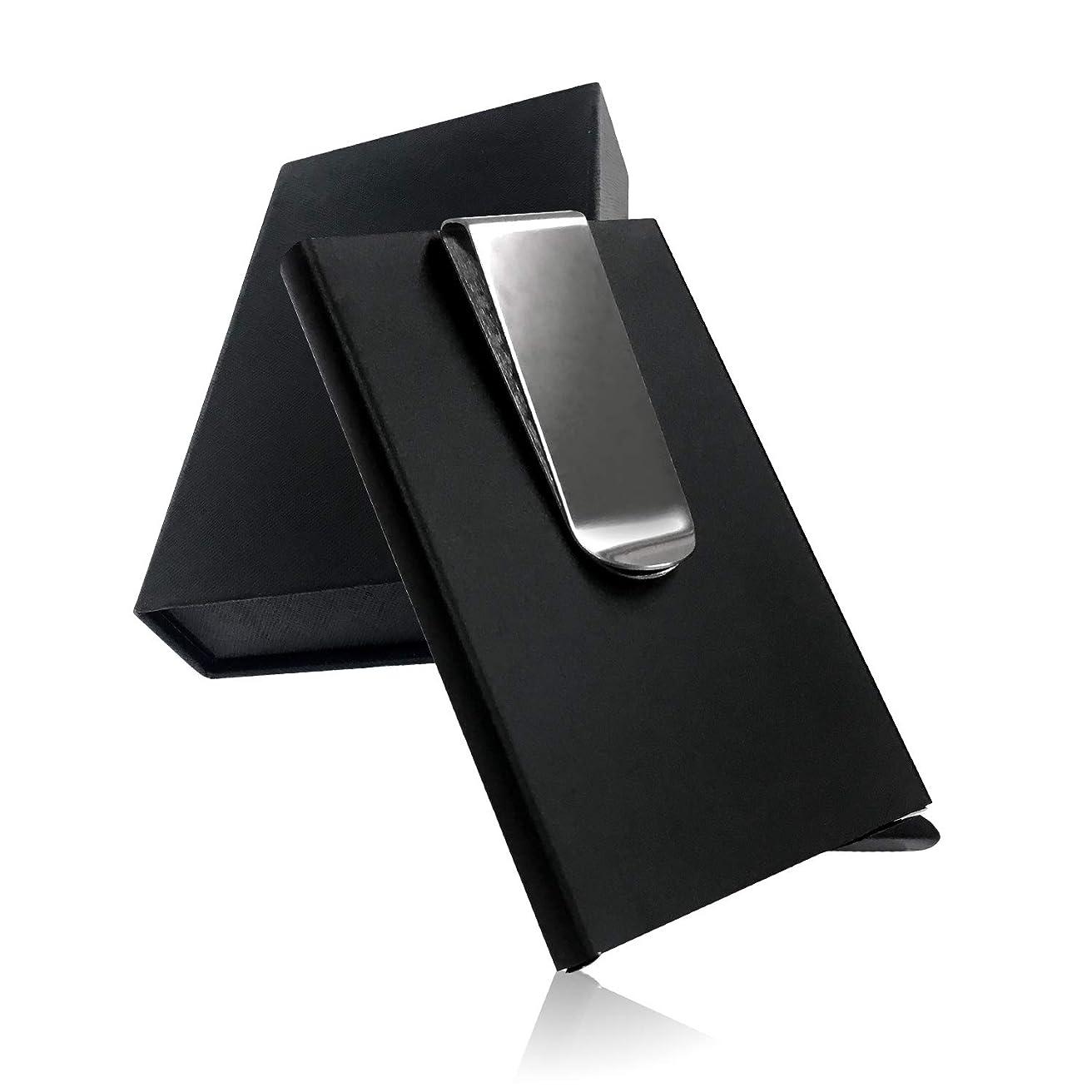 限定誓約伝説LE ARGENT (ル アルジャン) マネークリップ クレジットカードケース 財布 磁気防止 スキミング防止 大容量 メンズ 薄型 アルミ スライド