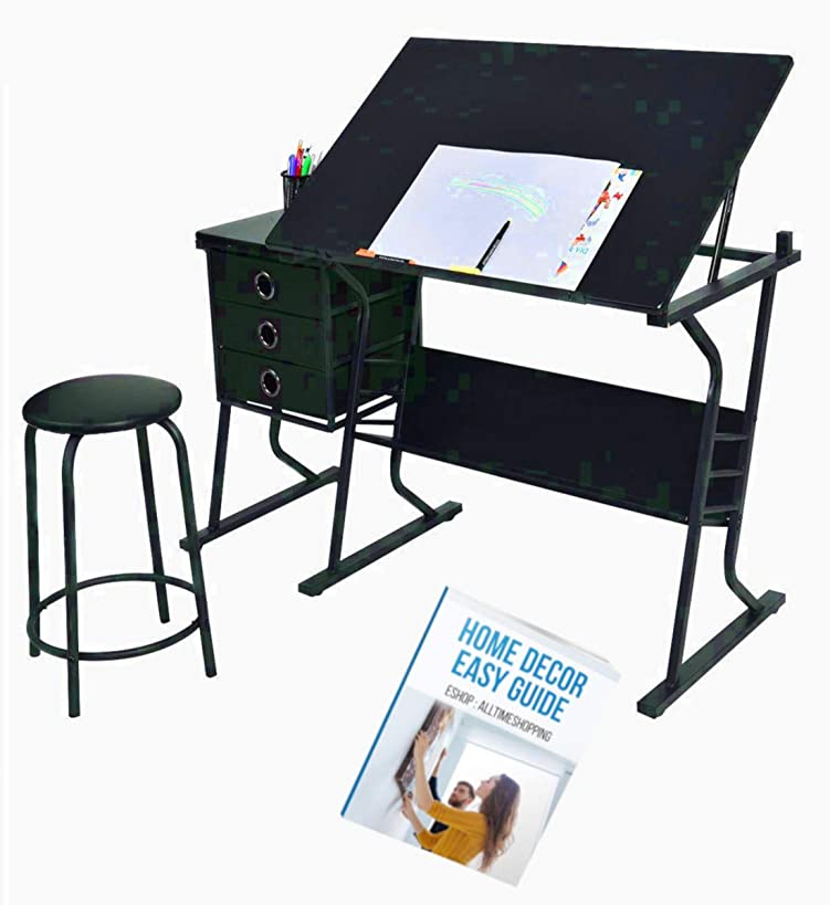 Angled Drawing Board Drafting Desk Chair Set Art Storage Office Standing Drawers Wood Student Side Table Portable Unit & Ebook by AllTim3Shopping.