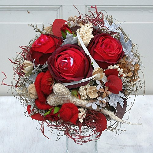 FRI-Collection Meisterfloristik Rosenstrauß Biedermeier Strauß mit roten Rosen Seidenblumen #47344