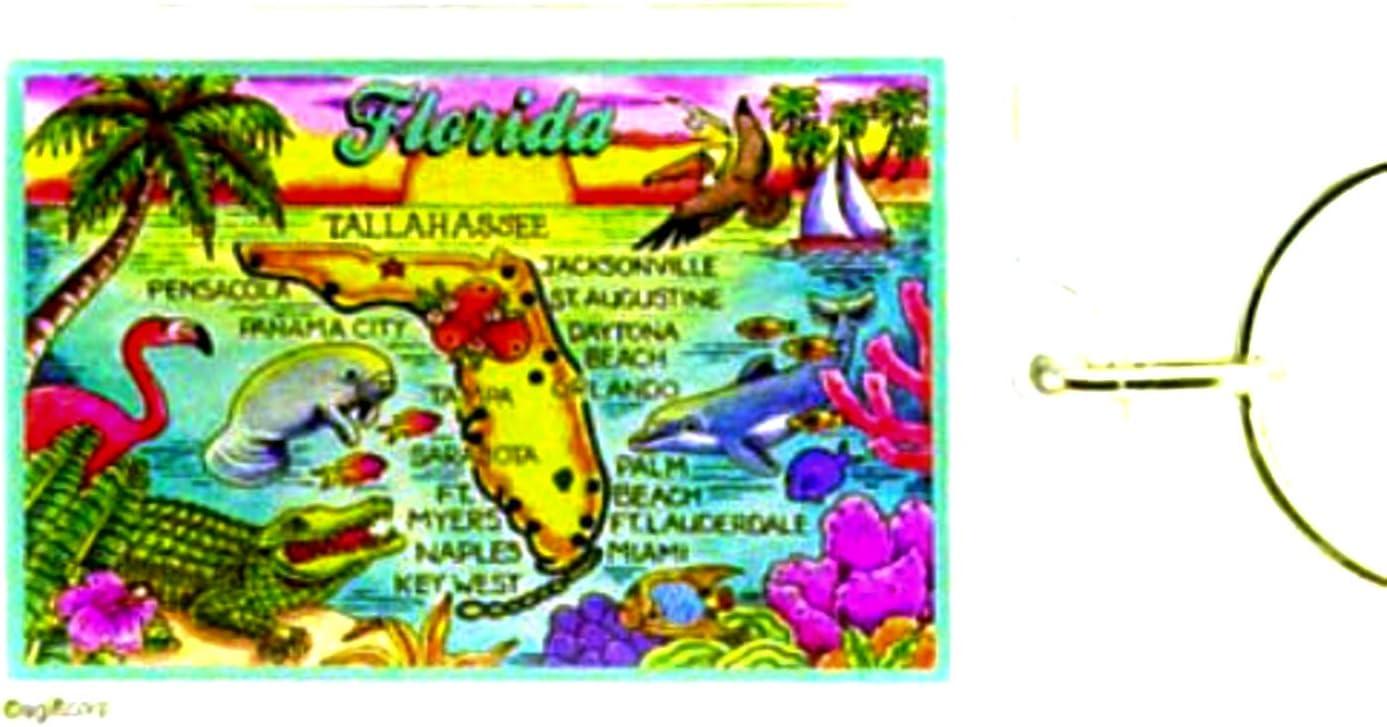 "FLORIDA KEYS MAP ACRYLIC RECTANGULAR KEYCHAIN 2.5/"" X 1.5/"""
