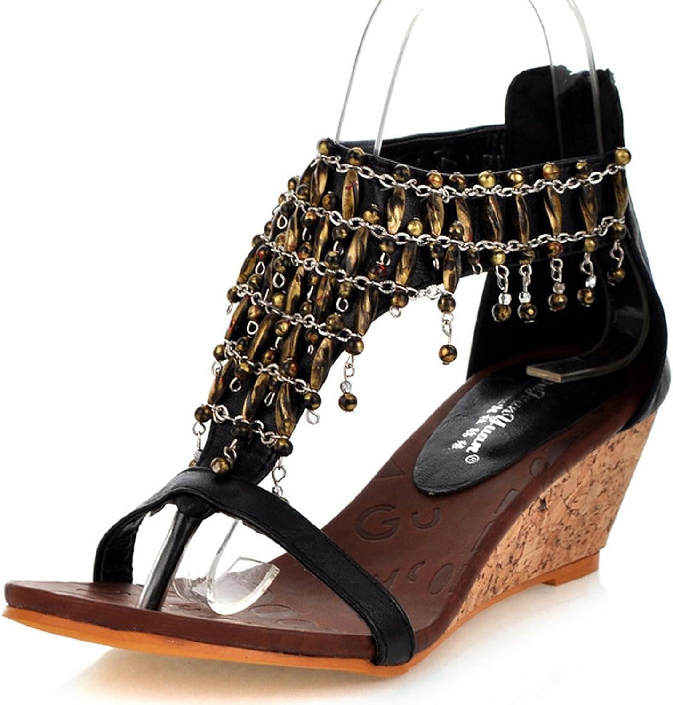 AIWEIYi Womens Peep Toe Wedge High Heel Sandals Beaded Summer Style shoes Black