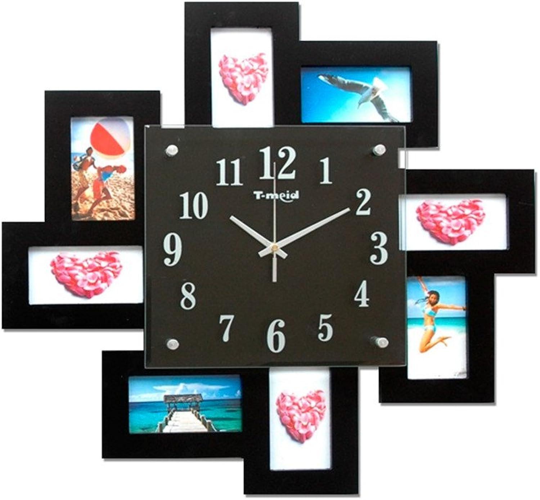 FortuneVin Reloj de Parojo decoración Reloj de Cocina Marco de Foto Foto Negro,50cm