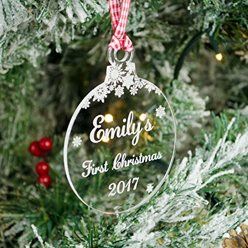 Rustic Charm Baby's First Christmas, Personalised Xmas Tree Decoration. Clear Acrylic Bauble. 1st With Engraved Name. Snowflakes Decor.