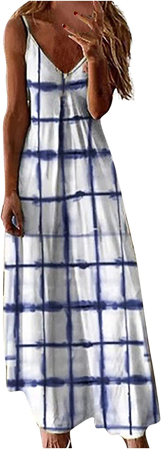 MASZONE Summer Dresses for Women Casual, Womens V-Neck Sleeveless Long Maxi Dress Plus Size Floral Prin Loose Cami Dress