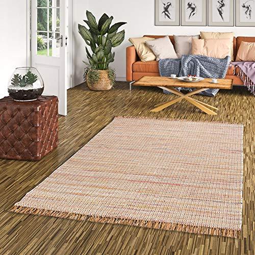 Pergamon Baumwolle Natur Teppich Cayenne Braun Bunt Meliert in 6 Größen