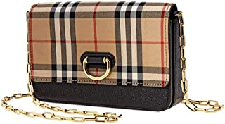 Mini Vintage Check and Leather D-ring Bag- Black