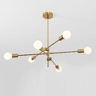 MOERUN Chandelier Pendant Lighting Brushed Bronze Finish Fixture Hanging Lamp Flush Mount with 6 Lights