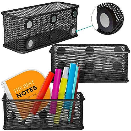 Mesh Magnetic Storage Baskets - Set of 3 (black) with Anti-Slip Feature and Strong Magnets - Magnetic Locker Organizer and Pencil Holder for Whiteboard and Refrigerator (Black Style)