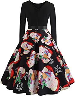 PASATO Christmas Women's Long Sleeve O Neck Printing Vintage Gown Evening Party Dress Skirt