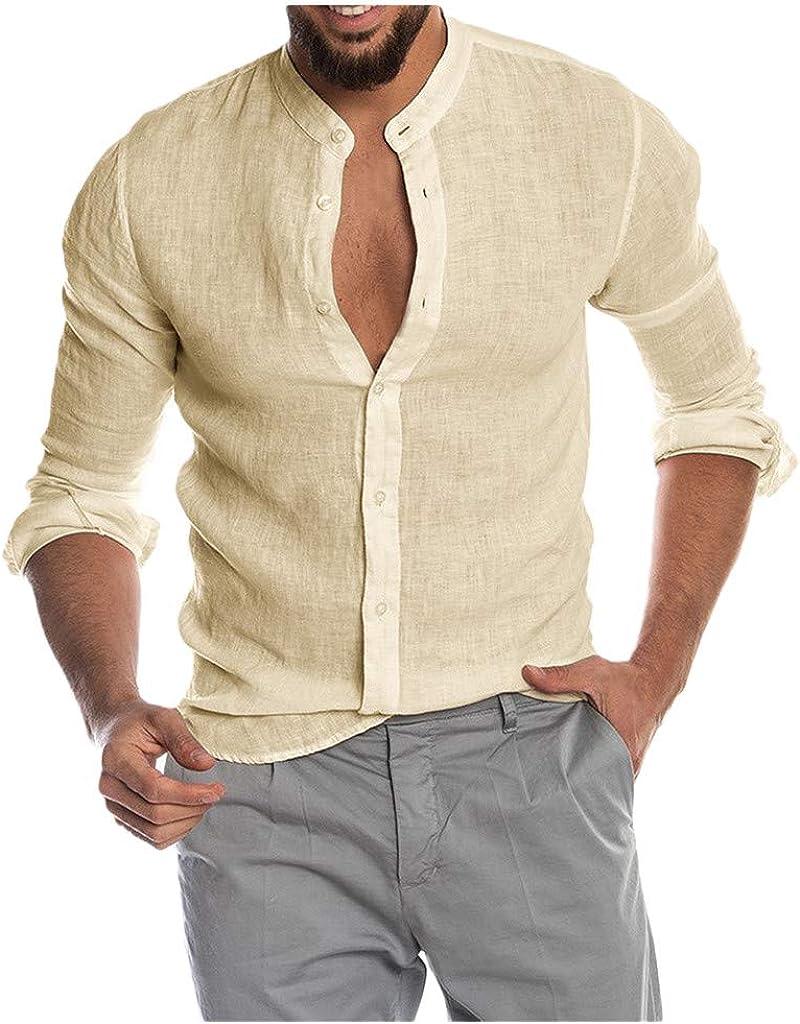 Aayomet Men's Cotton Linen Shirts Casual Long Sleeve Button Down T-Shirt Loose Daily Yoga Sport Beach Tee Shirts Tops