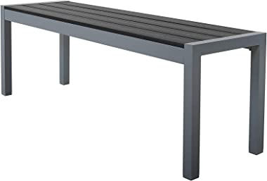 Chicreat - Banco de aluminio para jardín, 135 x 40 x 45cm (gris plateado)