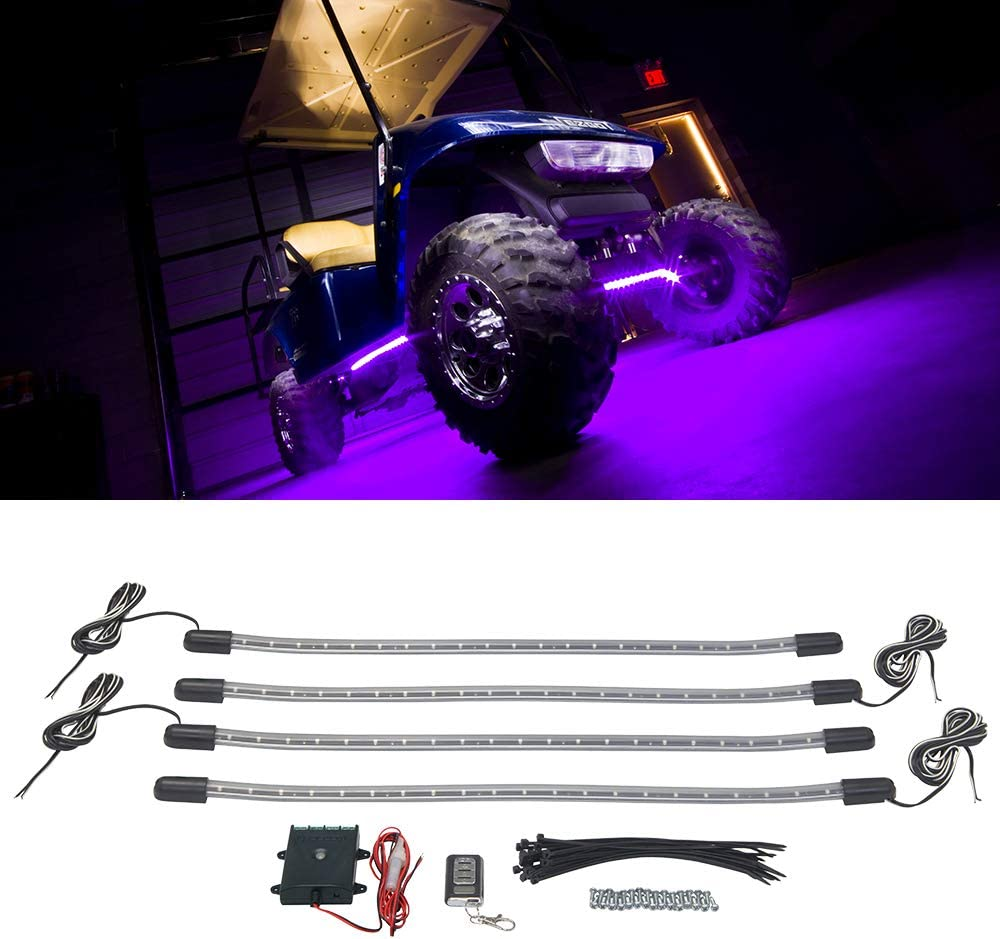 LEDGlow cheap 4pc Purple LED Golf Cart Underbody Accent Underglow Neon Courier shipping free