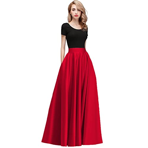 Honey Qiao Women s Satin Long Floor Length High Waist Fomal Prom Party  Skirts with Pockets 7f504cfa8