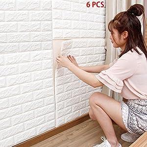 3D papel pintado blanco del ladrillo, paneles 3D de la pared,Papel Pintado, Ladrillo Pegatina Pared Autoadhesivo Panel Pared Impermeable (6 piezas)