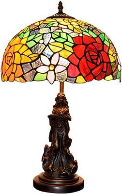 ZAAQ Lámpara de Mesa de Estilo Tiffany, patrón de libélula ...