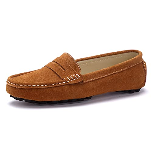 528b444407e SUNROLAN Casual Women s Suede Leather Driving Moccasins Slip-On Penny  Loafers Boat Shoes Flats