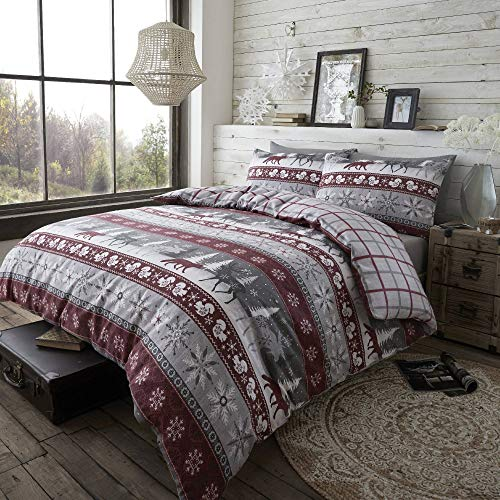 Happy Linen Company 100% Brushed Cotton Nordic Scandi Hygge Winter Warm Burgundy King Check Reversible Duvet Cover Bedding Set
