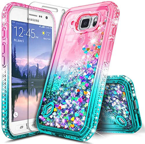 E-Began Case for Samsung Galaxy S6 Active [Not Fit Galaxy S6] with Tempered Glass Screen Protector, Glitter Liquid Floating Gradient Quicksand with Sparkling Diamond Durable Cute Case -Pink/Aqua